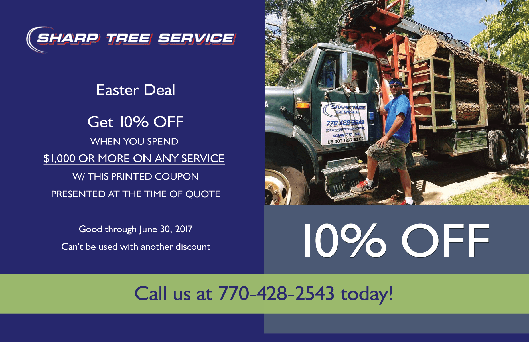 May 2017 Sharp Tree Service specials